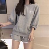 新款韓版春夏女百搭寬鬆衛衣拼色短褲運動兩件套休閒時尚套裝