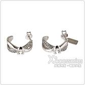COACH C字LOGO圓弧雙扭結設計鑽鑲飾穿式耳環(銀)