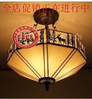 設計師美術精品館蒂凡尼彩色玻璃美式鄉村田園鐵藝吊燈 餐廳臥室書房吊燈---麋鹿
