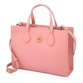 【Cath kidston】胭脂粉色皮革手提斜背兩用包