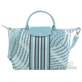 茱麗葉精品【全新現貨】Longchamp LE PLIAGE COLLECTION 幾何圖形尼龍兩用包.淺藍 #1515
