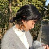 日韓國耳飾品ins網紅同款復古琥珀圓環925銀氣質大圓圈耳環/耳夾【全館限時88折】