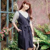 Poly Lulu 愛心鈕釦附綁帶修身洋裝-深藍【92260025】
