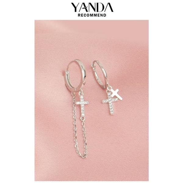 不對稱十字架耳環時尚氣質耳飾個性設計感酷帥925純銀耳圈扣