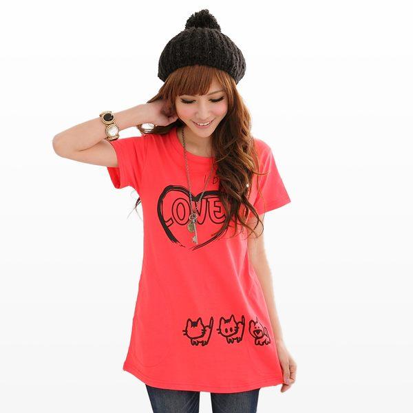 棉T--簡約氣質愛心小貓甜美圓領顯瘦長版短袖上衣(白.黑.紅S-XL)-T83眼圈熊中大尺碼