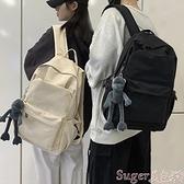 書包男簡約學生時尚旅行休閒帆布後背包男士電腦背包大容量軟帆布後背包 suger