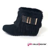 短靴 VelleMoven  靴子  流蘇 絨毛 百搭素面 優雅黑