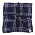 renoma經典大格紋男士純綿帕巾(深藍色)989063-244