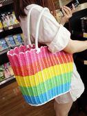 時尚挎包手提籃買菜籃編織收納筐野餐籃購物水果禮品塑料藤編籃子