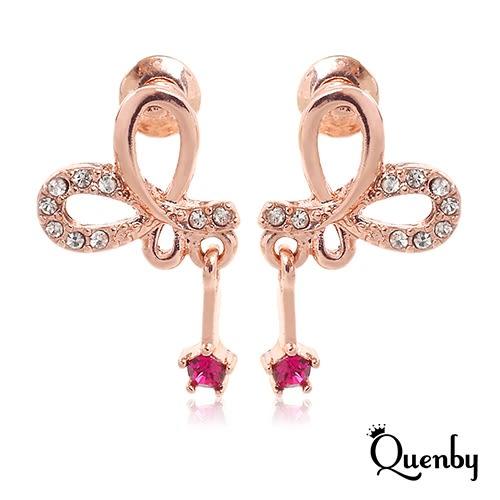 Quenby 925純銀 氣質甜美蝴蝶結鑲紅寶石垂吊耳環/耳針