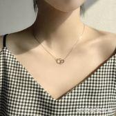 極簡正方形圓圈幾何相扣雙環閃亮雙環純銀短項鏈鎖骨鏈禮物女 zc526【3C環球數位館】