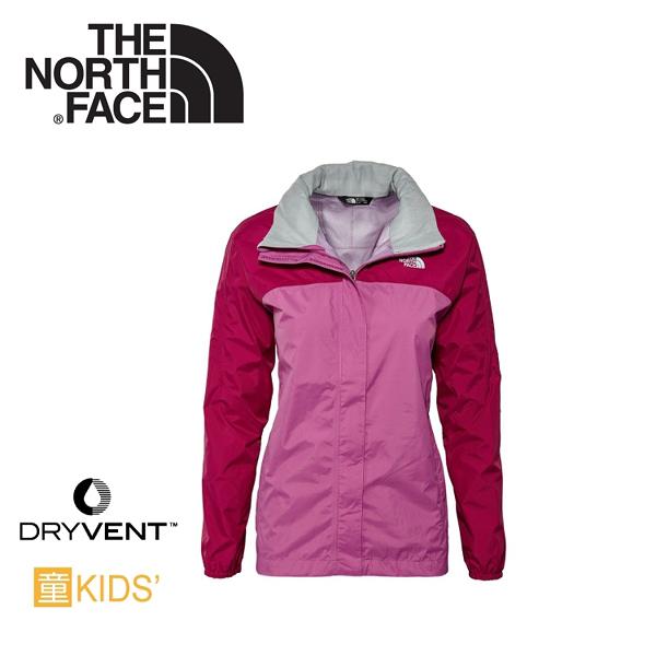 【The North Face 美國 女童 DV防水外套 《酒紅紫/紫藤紫》】CM94防風夾克/旅遊/防寒外套
