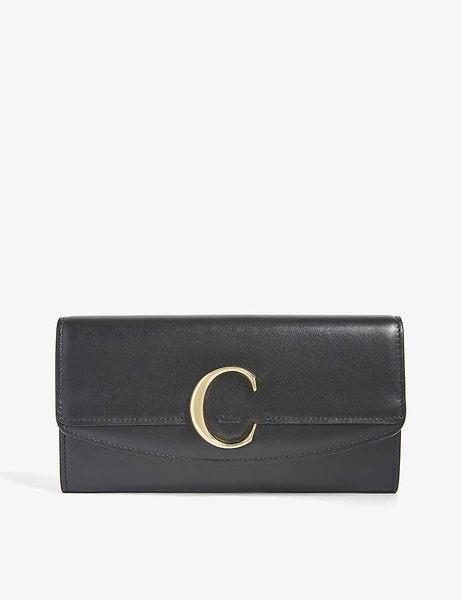 Chloe 新款CHLOE C Bag 防刮牛皮 長夾 皮夾 手拿包 (黑色)