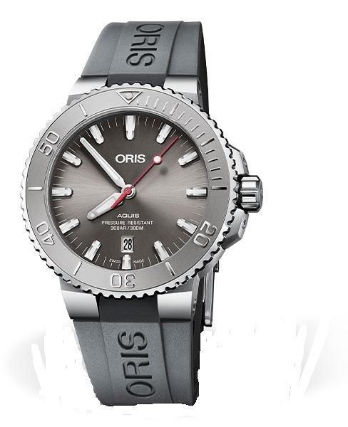 Oris Aquis RELIEF時間之海潛水300米機械錶(0173377304153-0742463EB)黑灰色膠/43.5mm