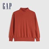 Gap女裝 碳素軟磨系列 刷毛半高領休閒上衣 655690-鐵銹紅