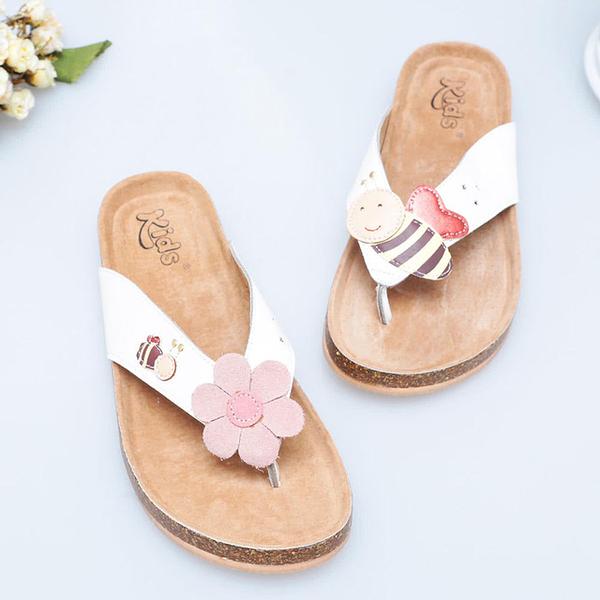 【Jingle】新小蜜蜂採花蜜軟木涼鞋(白色粉色大人款)