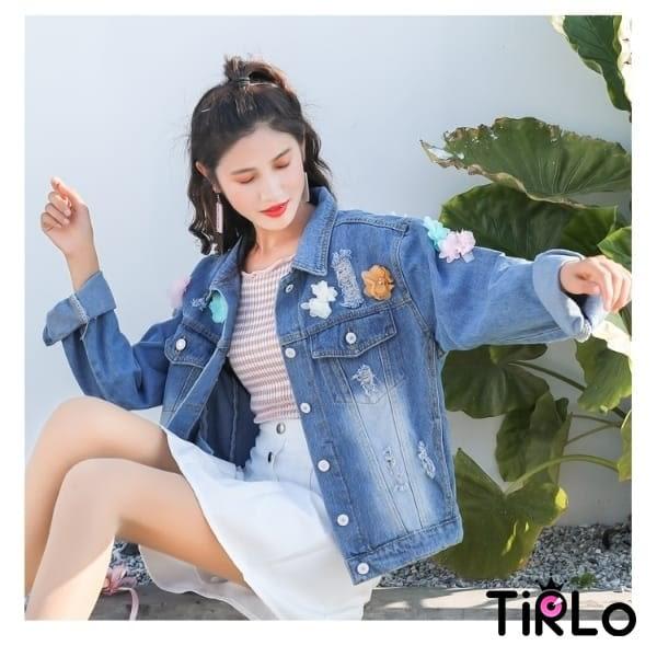 牛仔外套 -Tirlo-立體花朵寬鬆牛仔外套-一色(現+追加預計5-7工作天出貨)