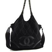 【奢華時尚】稀有款!CHANEL 黑色麂皮雙C大LOGO鍊帶肩背斜背兩用包(九成新)#25004