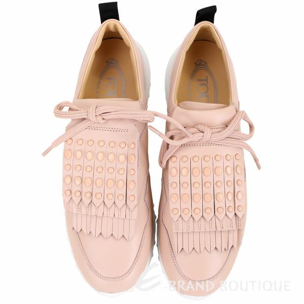 TOD'S 可拆鉚釘豆豆流蘇飾片繫帶運動鞋(粉色) 1910256-05