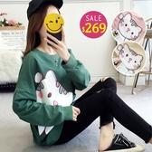 BOBO小中大尺碼【8223】寬版卡通貓咪長袖衛衣 共3色 現貨