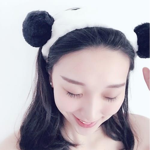 【萊爾富199免運】韓版卡通可愛熊貓束髮帶 運動化妝洗臉美容束髮帶 髮飾