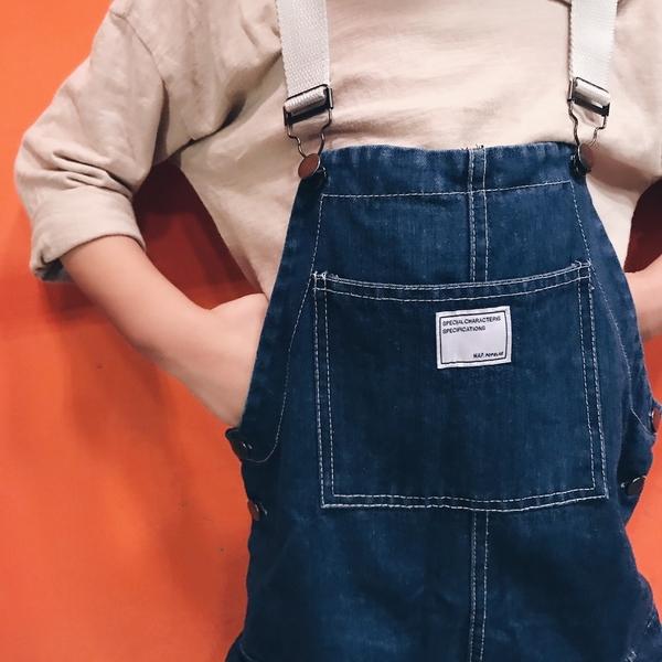 中性款 吊帶拚色工作褲口袋 吊帶褲 牛仔褲 吊帶寬褲 男女童 褲子 長褲 橘魔法 現貨 童裝
