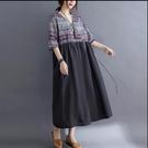 胖妹妹大碼洋裝連身裙~大碼棉麻洋裝~大碼女裝文藝復古印花系帶連身裙8305.FFA028莎菲娜