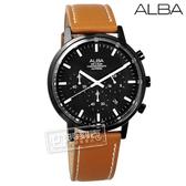 ALBA / VD53-X296J.AT3D37X1 / 三眼計時日期藍寶石水晶玻璃防水真皮手錶 黑x褐 42mm