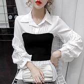 2020秋黑白撞色假兩件上衣設計感小眾輕熟港風修身長袖雪紡襯衫女 【雙十一下殺】