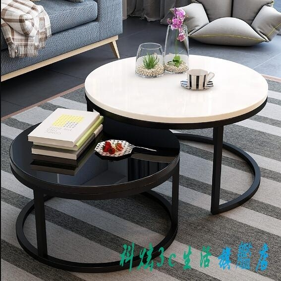 茶几 北歐茶几現代簡約小戶型簡易小茶几家用客廳創意鐵藝玻璃圓形茶几『科炫3C』