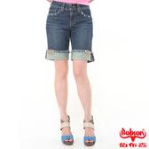 BOBSON 女款反摺牛仔短褲(藍132-77)