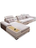 折疊沙發床 布藝沙髮組合客廳現代簡約可拆洗大小戶型皮布沙髮組合整裝傢俱  科技藝術館DF