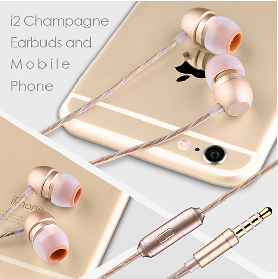 【i2】香檳入耳式耳機(線控麥克風)