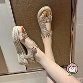 涼鞋女夏坡跟一字高跟鞋厚底百搭時尚【桃可可服飾】