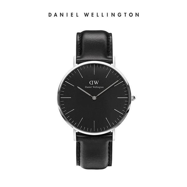 Daniel Wellington DW 手錶 40mm銀框 Classic Black 爵士黑真皮皮革錶