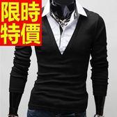 長袖毛衣精品素面-灑脫英倫風假兩件式男襯衫 3色59ac21【巴黎精品】