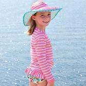 美國Rufflebutts-糖果/水藍條紋兩面游泳防曬帽