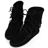 【MINNETONKA】黑色麂皮單層流蘇 中筒靴 經典必備 展示品