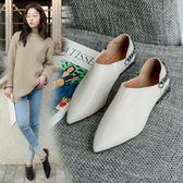 牛津鞋 秋季韓版時尚尖頭低跟平底單鞋女百搭英倫風小皮鞋兩穿 歌莉婭