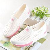 塑料女夏白色護士鞋涼鞋包頭洞洞鞋坡跟厚底鏤空工作鞋沙灘鞋