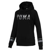 PUMA Athletic 女款黑色長厚連帽T恤-NO.85381301