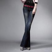 Victoria 基本小V鑽丹寧牛仔靴型褲-女-中深藍-VW1121