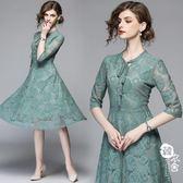 禮服 - 五分袖修身顯瘦中長款歐貨蕾絲連身裙【韓衣舍】