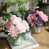 仿真玫瑰花束 歐式高客廳臥室辦公桌裝飾擺件假花絹花插花小盆栽  糖糖日系森女屋