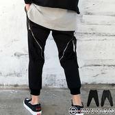 超大拉鏈造型休閒褲【Y0524】OBIYUAN 高質感束口棉褲 共1色