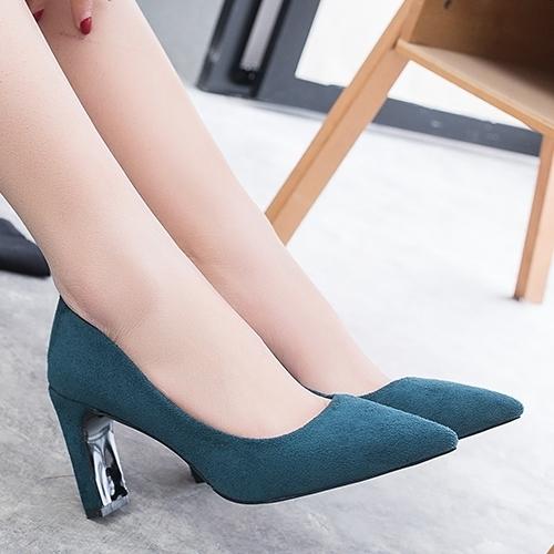 高跟鞋.百搭簡約絨布尖頭粗跟包鞋.白鳥麗子