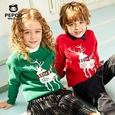 小豬班納童裝男童針織衫兒童圓領圣誕毛衣女純棉套頭線衣寶寶上衣 蘿莉小腳丫
