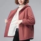 風衣 外套 上衣加絨中長款風衣女40到50歲媽媽裝洋氣寬松棉服羊羔毛外套T103-B 胖妹大碼女裝