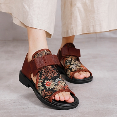 魚嘴低跟涼鞋 民族風休閒涼鞋 真皮手工女鞋/2色-夢想家-標準碼-0324