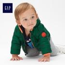 Gap男嬰兒 舒適保暖恐龍圖案長袖拉鏈羽絨外套 473861-深綠色